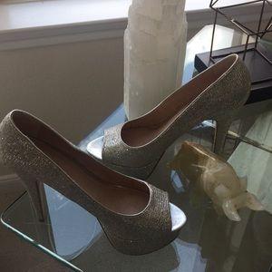 Sliver Glam high heel peep toe pump